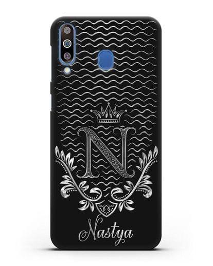 Чехол с короной, именем и фамилией с серебряным рисунком силикон черный для Samsung Galaxy M30 [SM-M305F]