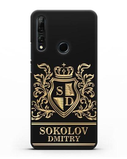Именной чехол с гербом, инициалами и фамилией с золотым рисунком силикон черный для Honor 9X
