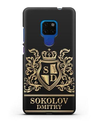 Именной чехол с гербом, инициалами и фамилией с золотым рисунком силикон черный для Huawei Mate 20