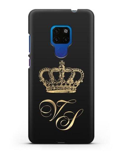 Именной чехол с короной и инициалами с золотым рисунком силикон черный для Huawei Mate 20