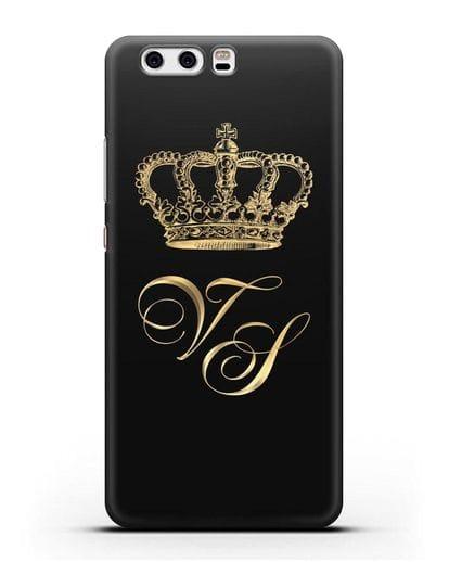 Именной чехол с короной и инициалами с золотым рисунком силикон черный для Huawei P10 Plus
