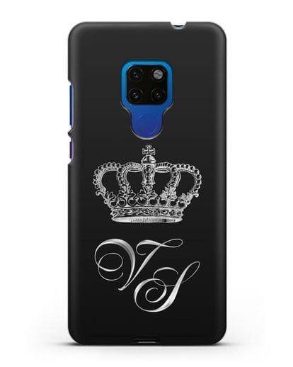 Именной чехол с короной и инициалами с серебряным рисунком силикон черный для Huawei Mate 20