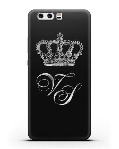 Именной чехол с короной и инициалами с серебряным рисунком силикон черный для Huawei P10 Plus