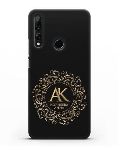 Чехол с монограммой, именем и фамилией с золотым рисунком силикон черный для Honor 9X