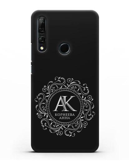 Чехол с монограммой, именем и фамилией с серебряным рисунком силикон черный для Honor 9X