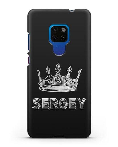 Именной чехол с короной и надписью с серебряным рисунком силикон черный для Huawei Mate 20