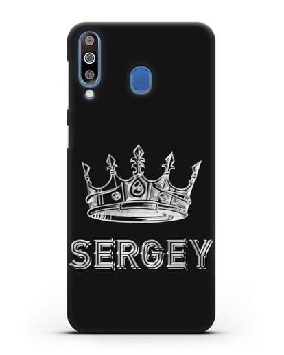 Именной чехол с короной и надписью с серебряным рисунком силикон черный для Samsung Galaxy M30 [SM-M305F]