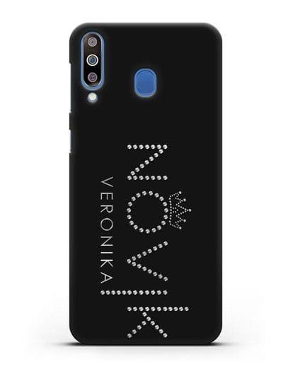 Именной чехол с именем, фамилией и короной с серебряным рисунком силикон черный для Samsung Galaxy M30 [SM-M305F]