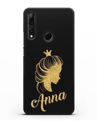 Именной чехол Принцесса с короной с золотым рисунком силикон черный для Honor 9X