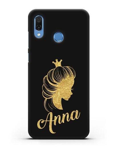 Именной чехол Принцесса с короной с золотым рисунком силикон черный для Honor Play