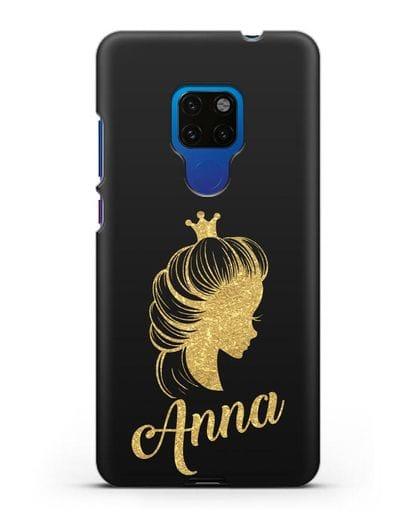 Именной чехол Принцесса с короной с золотым рисунком силикон черный для Huawei Mate 20
