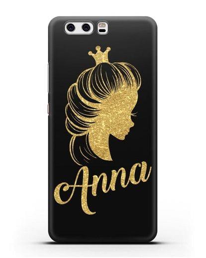 Именной чехол Принцесса с короной с золотым рисунком силикон черный для Huawei P10 Plus