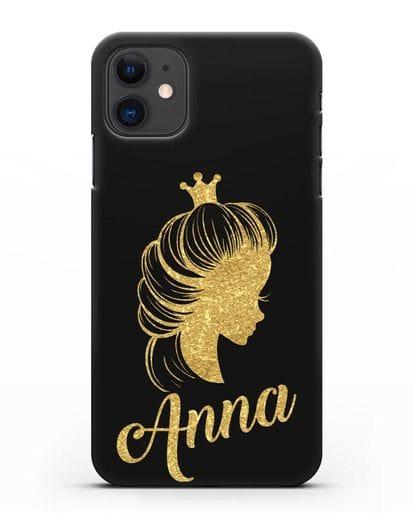Именной чехол Принцесса с короной с золотым рисунком силикон черный для iPhone 11