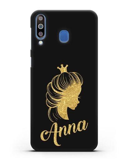 Именной чехол Принцесса с короной с золотым рисунком силикон черный для Samsung Galaxy M30 [SM-M305F]