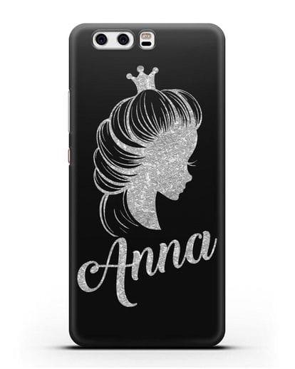 Именной чехол Принцесса с короной с серебряным рисунком силикон черный для Huawei P10 Plus