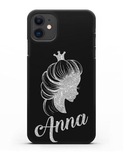 Именной чехол Принцесса с короной с серебряным рисунком силикон черный для iPhone 11
