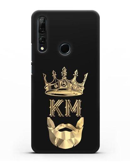 Чехол с короной и инициалами для мужчины с золотым рисунком силикон черный для Honor 9X