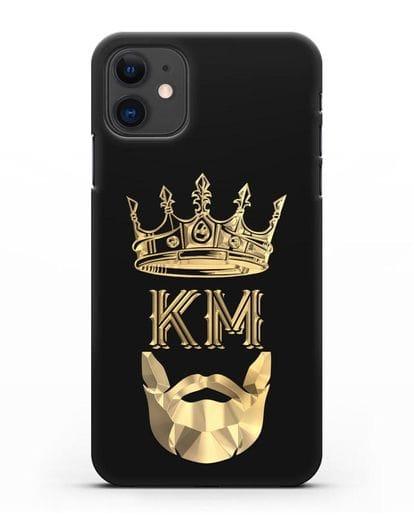 Чехол с короной и инициалами для мужчины с золотым рисунком силикон черный для iPhone 11