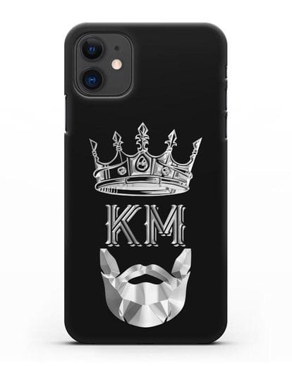 Чехол с короной и инициалами для мужчины с серебряным рисунком силикон черный для iPhone 11
