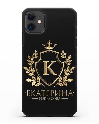Именной чехол с геральдическим щитом и короной с золотым рисунком силикон черный для iPhone 11