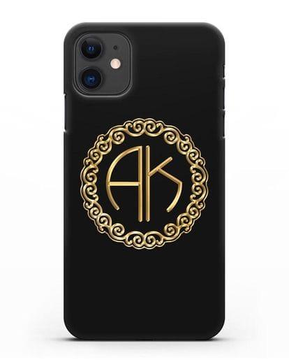 Именной чехол с монограммой с золотым рисунком силикон черный для iPhone 11