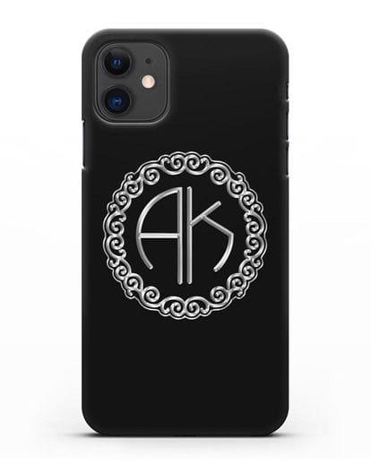 Именной чехол с монограммой с серебряным рисунком силикон черный для iPhone 11