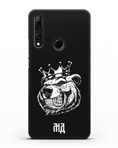 Чехол Медведь с короной с инициалами, фамилией силикон черный для Honor 9X