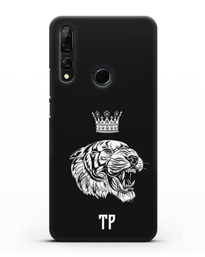 Чехол Тигр с короной с инициалами, фамилией силикон черный для Honor 9X