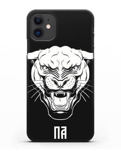 Чехол Пантера с инициалами, фамилией силикон черный для iPhone 11