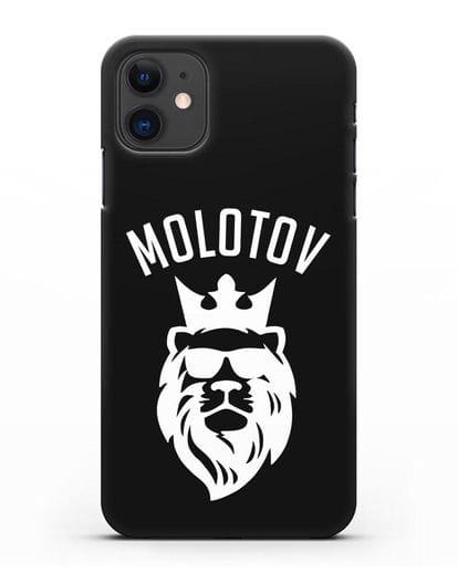 Именной чехол Лев с короной Стойкость и упорство силикон черный для iPhone 11