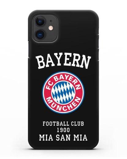 Чехол с надписью Bayern Mia San Mia силикон черный для iPhone 11