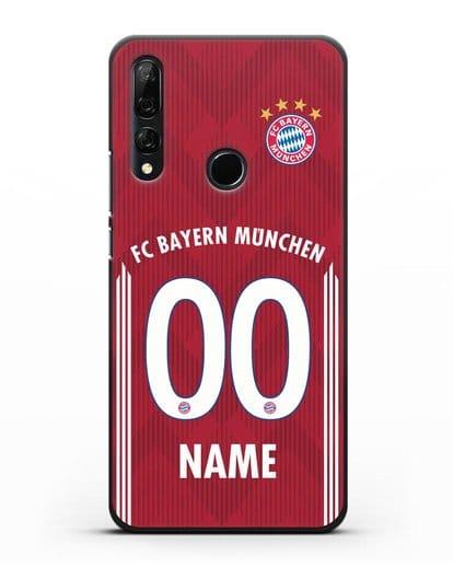 Именной чехол Бавария Мюнхен с фамилией и номером (сезон 2018-2019) красная форма силикон черный для Honor 9X