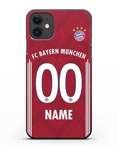 Именной чехол Бавария Мюнхен с фамилией и номером (сезон 2018-2019) красная форма силикон черный для iPhone 11