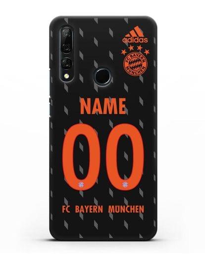 Именной чехол Бавария Мюнхен с фамилией и номером (сезон 2019-2020) черная форма силикон черный для Honor 9X