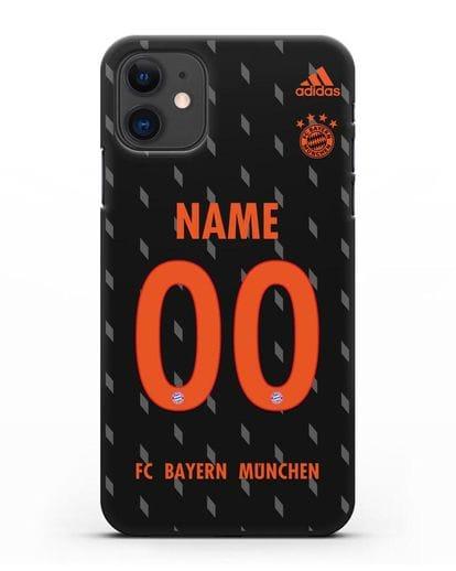 Именной чехол Бавария Мюнхен с фамилией и номером (сезон 2019-2020) черная форма силикон черный для iPhone 11