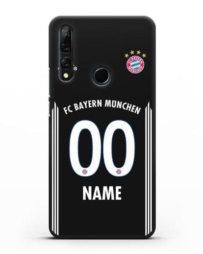 Именной чехол Бавария Мюнхен с фамилией и номером (сезон 2018-2019) черная форма силикон черный для Honor 9X