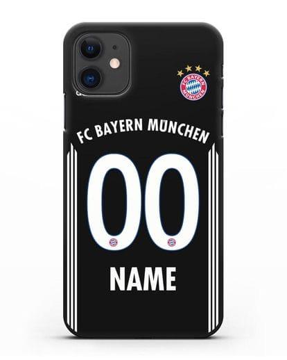 Именной чехол Бавария Мюнхен с фамилией и номером (сезон 2018-2019) черная форма силикон черный для iPhone 11