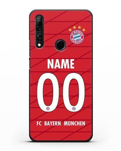 Именной чехол Бавария Мюнхен с фамилией и номером (сезон 2019-2020) красная форма силикон черный для Honor 9X