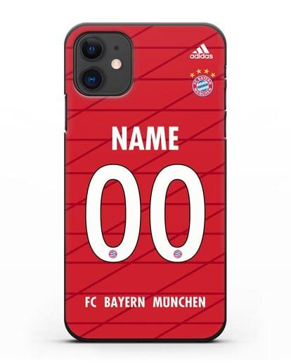 Именной чехол Бавария Мюнхен с фамилией и номером (сезон 2019-2020) красная форма силикон черный для iPhone 11