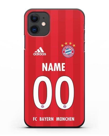 Именной чехол ФК Бавария Мюнхен с фамилией и номером (сезон 2020-2021) домашняя форма силикон черный для iPhone 11