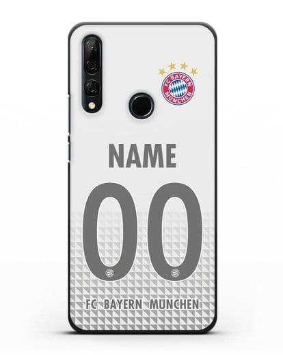 Именной чехол ФК Бавария Мюнхен с фамилией и номером (сезон 2020-2021) гостевая форма силикон черный для Honor 9X