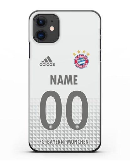 Именной чехол ФК Бавария Мюнхен с фамилией и номером (сезон 2020-2021) гостевая форма силикон черный для iPhone 11