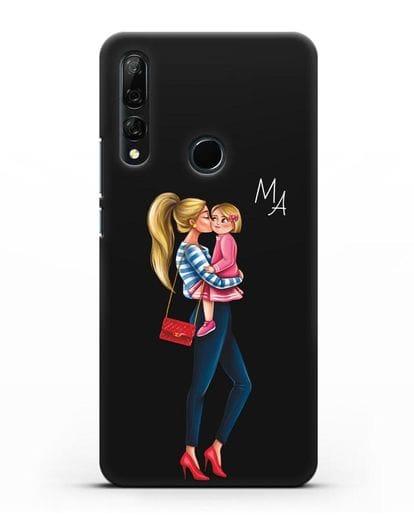 Чехол с иллюстрацией Мама блондинка с дочкой и инициалами силикон черный для Honor 9X