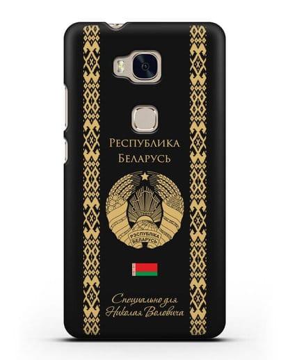 Чехол с орнаментом и гербом Республики Беларусь с именем, фамилией на русском языке силикон черный для Honor 5X