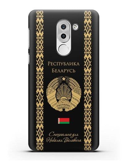 Чехол с орнаментом и гербом Республики Беларусь с именем, фамилией на русском языке силикон черный для Honor 6X