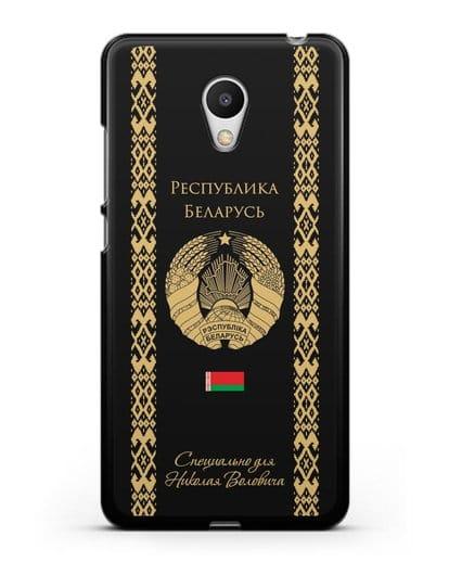 Чехол с орнаментом и гербом Республики Беларусь с именем, фамилией на русском языке силикон черный для MEIZU M6