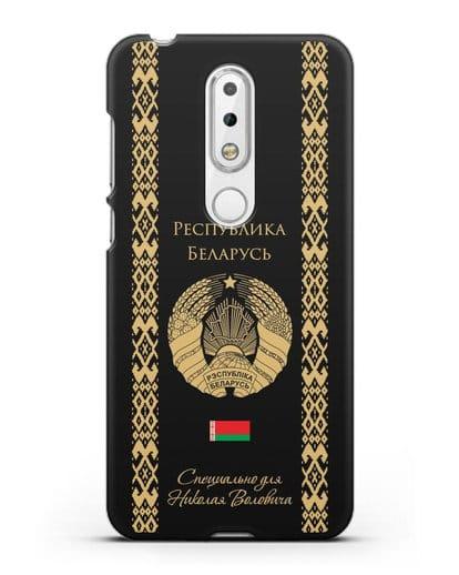 Чехол с орнаментом и гербом Республики Беларусь с именем, фамилией на русском языке силикон черный для Nokia 6.1 plus
