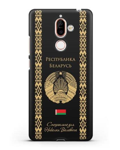 Чехол с орнаментом и гербом Республики Беларусь с именем, фамилией на русском языке силикон черный для Nokia 7 plus