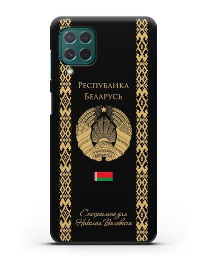 Чехол с орнаментом и гербом Республики Беларусь с именем, фамилией на русском языке силикон черный для Samsung Galaxy M62 [SM-M625F]