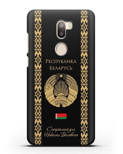 Чехол с орнаментом и гербом Республики Беларусь с именем, фамилией на русском языке силикон черный для Xiaomi Mi 5S Plus